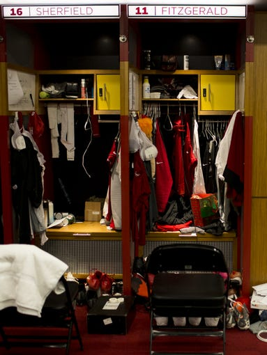 Larry Fitzgerald's locker sits vacant at the Cardinals training facility in Tempe, Ariz. on Dec. 30, 2019.