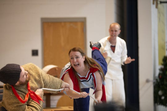 Childsplay actors Marshall Vosler, left, Kate Haas and Tommy Strawser, perform Suzette Who Set to Sea for Arredondo Elementary students on December 18, 2019 in Tempe. Childsplay is a nonprofit that brings performances to schools.