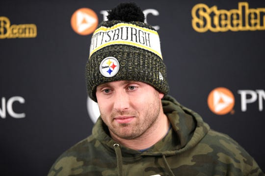 Pittsburgh Steelers quarterback Devlin Hodges speaks to reporters after an NFL football game against the Baltimore Ravens, Sunday, Dec. 29, 2019, in Baltimore. The Ravens won 28-10. (AP Photo/Nick Wass)