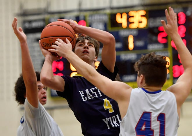 Trevor Seitz, seen here driving to the basket in a file photo, had 27 points on Wednesday for Eastern York.