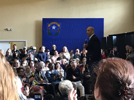 U.S. Sen. Cory Booker, D-N.J., speaks during a presidential campaign event in Reno on Monday, Dec. 20, 2019.