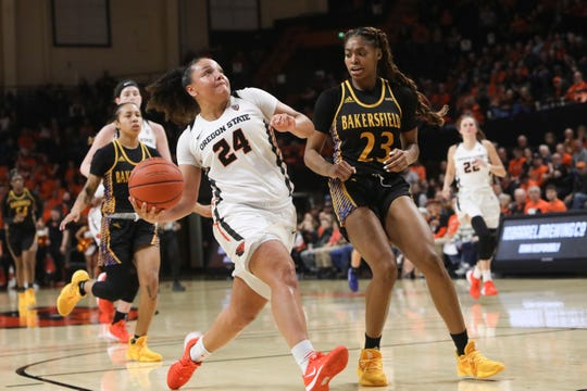Oregon State's Destiny Slocum (24) drives to the basket past Cal State Bakersfield's Miracle Saxon (23) during the second half of an NCAA college basketball game in Corvallis, Ore., Sunday, Dec. 29, 2019.