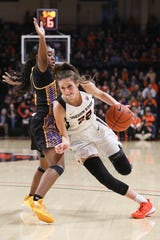 Oregon State's Kat Tudor (22) skirts around Cal State Bakersfield's Lexus Green (11) during the first half of an NCAA college basketball game in Corvallis, Ore., Sunday, Dec. 29, 2019.