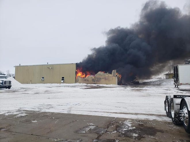 A bystander captured a photo shortly after an explosion was reported at Harms Oil west of Aberdeen.