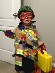 Grandson prepares for a hurricane.