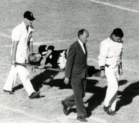 Florida State's Lee Corso is stretchered off the field after breaking his leg in the 1966 Sun Bowl. He claimed he later went dancing in Juarez that night. He was replaced at running back by Burt Reynolds