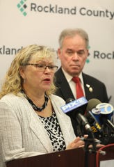 Health Commissioner Dr. Patricia Schnabel Ruppert talks about the end of an infectious measles outbreak in Rockland County that began in October and involved vaccination fights and court battles during a press conference in New City Sept. 25, 2019.