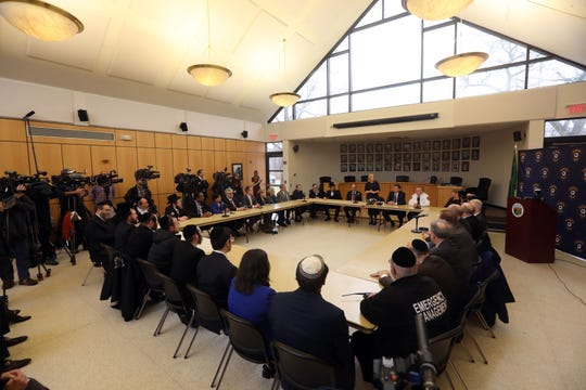U.S. Sen. Kirsten Gillibrand hosts a roundtable discussion with Orthodox Jewish leaders and elected officials at Ramapo Town Hall Dec. 30, 2019 in the wake of the Monsey attack to talk about how to fight anti-Semitism and protect the Jewish community.