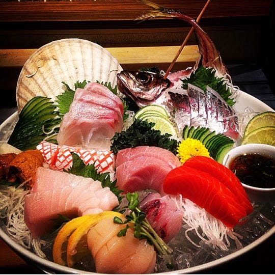 A display of raw fish at the newly opened Raku Sushi in Nyack.