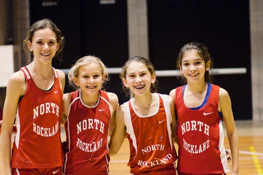 Katelyn Tuohy as seventh-grader (2nd from left) with (L-R) Katherine Konopko, Haleigh Morales and Kerry O'Connor.
