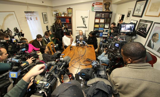 The conference room of Michael Sussman was packed with local news media as well as national news media during a press conference that Sussman held to address Grafton Thomas' possible mental illness. Dec. 30, 2019.