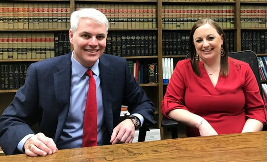 Wichita County District Attorney John Gillespie and 97th District Attorney Casey Polhemus are shown here in this Dec. 30, 2019, file photo.