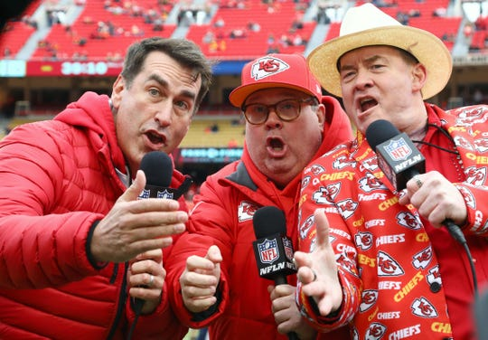 Actors Rob Riggle and Eric Stonestreet and David Koechner record a video for NFL Network before the game between the Los Angeles Chargers and the Kansas City Chiefs at Arrowhead Stadium.