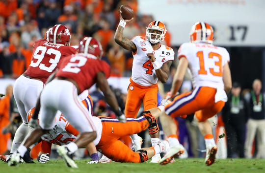 Clemson quarterback Deshaun Watson throws a pass against Alabama during the College Football Playoff game at Raymond James Stadium on Jan. 9, 2017.