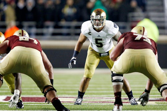 Notre Dame linebacker Manti Te'o (5) prepares for a play against Boston College during their game Nov. 12, 2012 at Alumni Stadium.