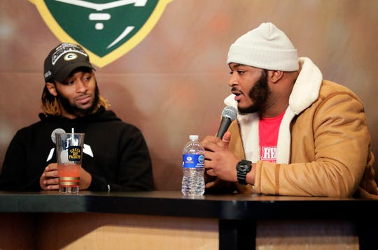Green Bay Packers running back Aaron Jones (left) co-hosted Monday's Clubhouse Live in Appleton. Jones' guest was Packers rookie left guard Elgton Jenkins.