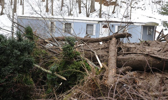 A landslide damaged four homes along Rich Cove Road in Maggie Valley in February 2010.  The debris field stopped near this mobile home. There were no injuries reported, and more than 40 people were evacuated.