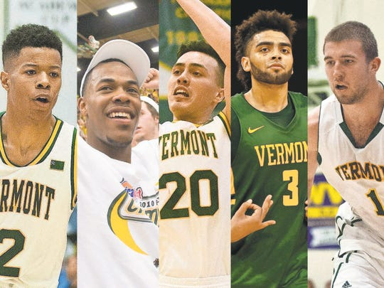 Trae Bell-Haynes, Marqus Blakely, Ernie Duncan, Anthony Lamb, Brian Voelkel -- the UVM men's basketball all-decade team.