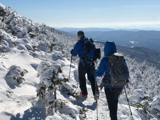 Hikers summit Camels Hump on March 9, 2019.