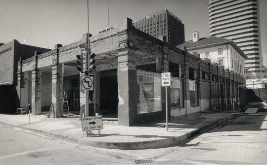 The building at the corner of Starr and Mesquite streets in downtown Corpus Christi was under renovation to be turned into a restaurant called O'Shucks Starr Street Bar & Grill in November 1985. The location is now House of Rock.