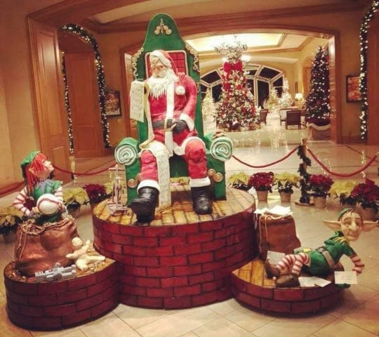 This giant Santa cake was created by Al DiBartolo, Christophe Rull and Mike Brown last winter at the Park Hyatt Aviara near San Diego.