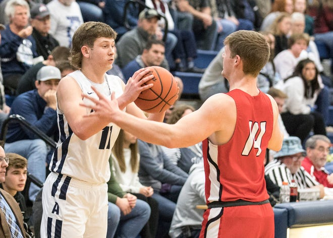 Adena's Logan Bennett looks to pass the ball during a loss to Logan Elm at Adena High School in Frankfort, Ohio, on Dec. 30, 2019.