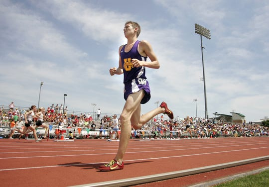 Unioto's Adrian Ross competes during the Boys 3200 meter run of the OHSAA State Track and Field Tournament at Jesse Owens Memorial Stadium at The Ohio State University.
