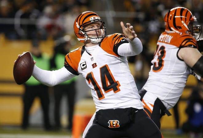Andy Dalton looks to pass against the Pittsburgh Steelers on Sunday, Dec. 28.