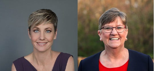 Democrat Rachel Roberts, left, and Republican Mary Jo Wedding, right, are campaigning for the special election to fill a vacant seat in the Kentucky House of Representatives.