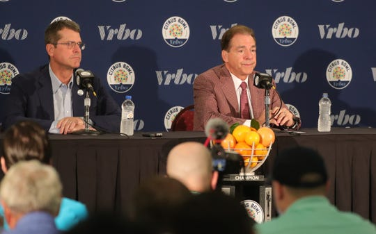 Michigan head coach Jim Harbaugh and Alabama head coach Nick Saban talk about playing in the Citrus Bowl Tuesday, December 31, 2019 at the Rosen Plaza Hotel  in Orlando, Fl.