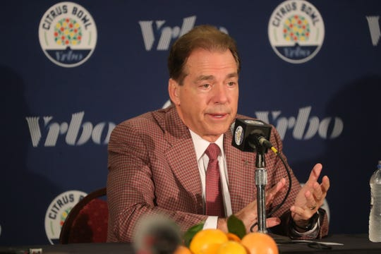 Alabama head coach Nick Saban talks about playing Michigan in the Citrus Bowl Tuesday, December 31, 2019 at the Rosen Plaza Hotel in Orlando, Fl.