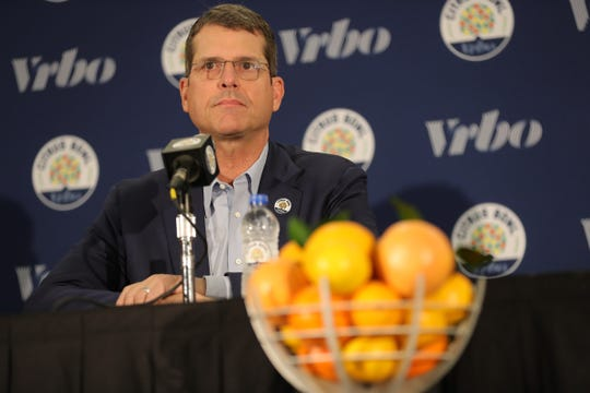 Michigan head coach Jim Harbaugh talks about playing Alabama in the Citrus Bowl Tuesday, December 31, 2019 at the Rosen Plaza Hotel in Orlando, Fl.