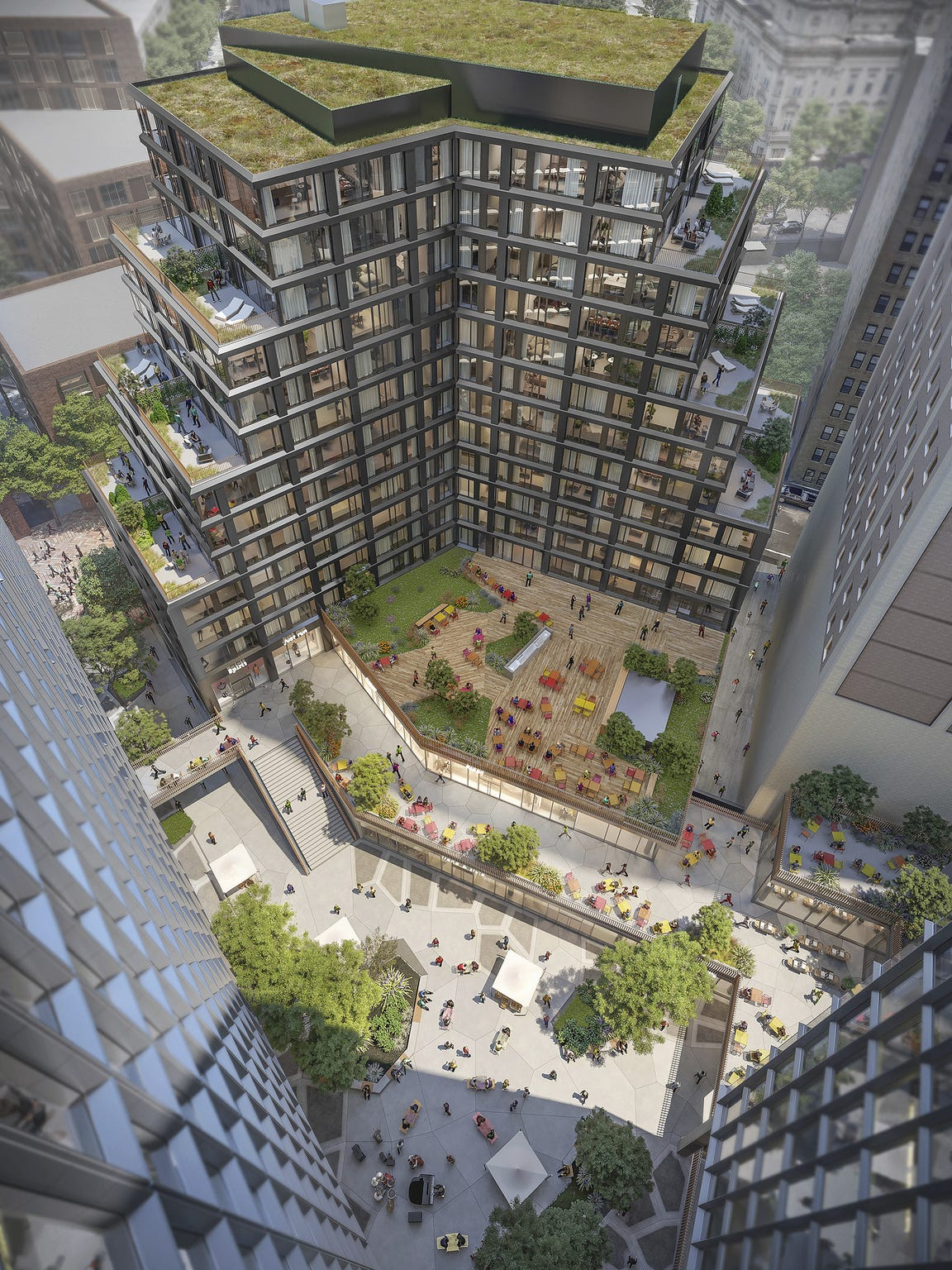 Plans for the $830 million Monroe Blocks project in downtown Detroit, seen in a courtyard view in this rendering, include more than an acre of open space.