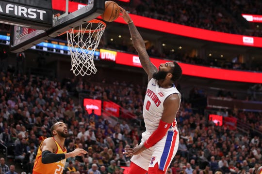 Detroit Pistons center Andre Drummond (0) attempts to dunk against the Utah Jazz during the second quarter of an NBA basketball game.