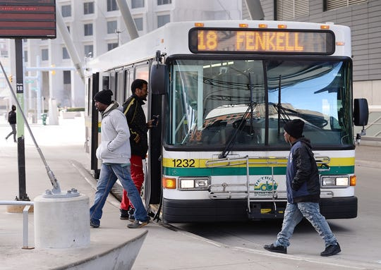 Riders enter the Fenkell route bus at the Rosa Park Transit Center. Detroit Transit Police Chief Ricky Brown acknowledged there's been a slight increase in reported attacks on bus drivers recently.