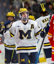Michigan's Jake Slaker scored a pair in a 3-0 victory over Michigan State Saturday at Yost Ice Arena.