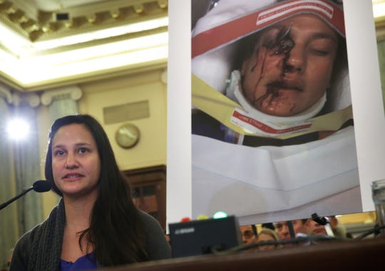 Stephanie Erdman of Destin, Florida, who was seriously injured by the air-bag explosion in her Honda Civic during a traffic accident, testifies on Capitol  Hill.  Exploding Takata air-bag inflators have been linked to at least 16 deaths and more than 250 injuries in the United States; at least 24 have died worldwide.