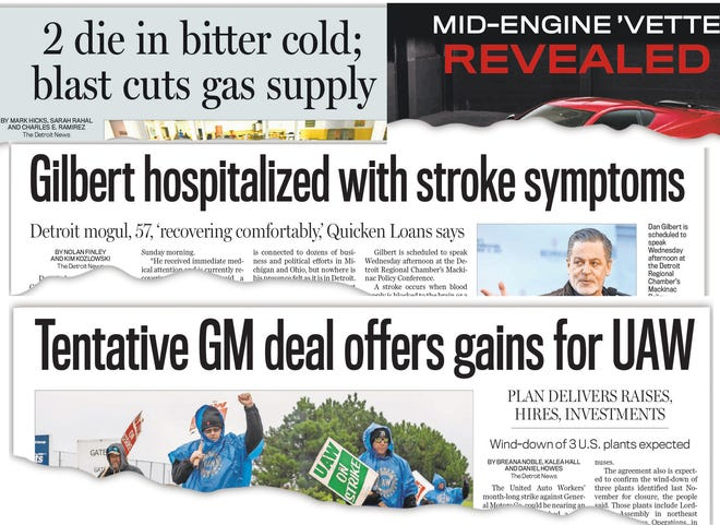Front page stories from The Detroit News in 2019.