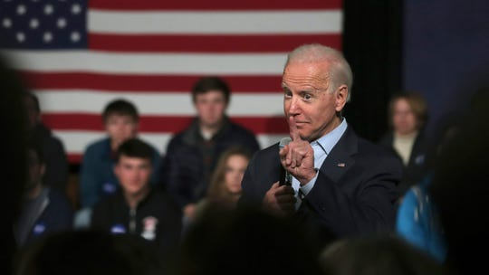 Democratic presidential candidate former Vice President Joe Biden addresses a gathering during a campaign stop in Exeter, N.H., Monday, Dec. 30, 2019.