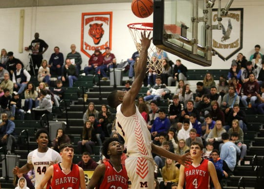 Jared Billups of McDonogh goes up for two in a 65-33 win over Painesville Harvey in the National Division boys championship game at the Josh Palmer Fund Elmira Holiday Inn Classic on Dec. 30, 2019 at Elmira High School. Billups was selected MVP of the National Division.