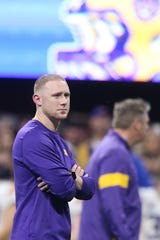 Dec 28, 2019; Atlanta, Georgia, USA; LSU Tigers passing game coordinator/wide receivers coach Joe Brady looks on before the 2019 Peach Bowl college football playoff semifinal game against the Oklahoma Sooners. Mandatory Credit: Brett Davis-USA TODAY Sports