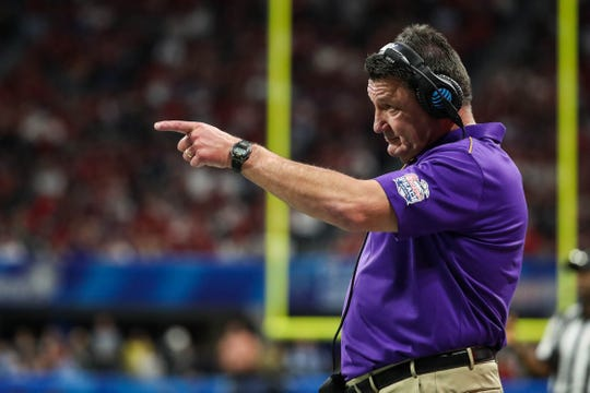 Dec 28, 2019; Atlanta, Georgia, USA; LSU Tigers head coach Ed Orgeron reacts during the second quarter of the 2019 Peach Bowl college football playoff semifinal game against the Oklahoma Sooners at Mercedes-Benz Stadium. Mandatory Credit: Jason Getz-USA TODAY Sports