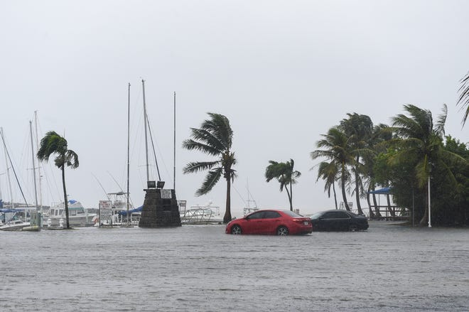The flooded Agat Boat Basin parking lot during Typhoon Wutip, Feb. 23, 2019.