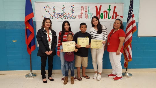 Guahan Academy Charter School's November Student of the Month awardees on Dec. 19. Pictured from left Lynda Hernandez-Avilla, Eileen Prangan, Deisha Flores, Aidin Nauta, Donabelle Laxamana and Mary Mafnas. Not pictured: Richale Ongesii.