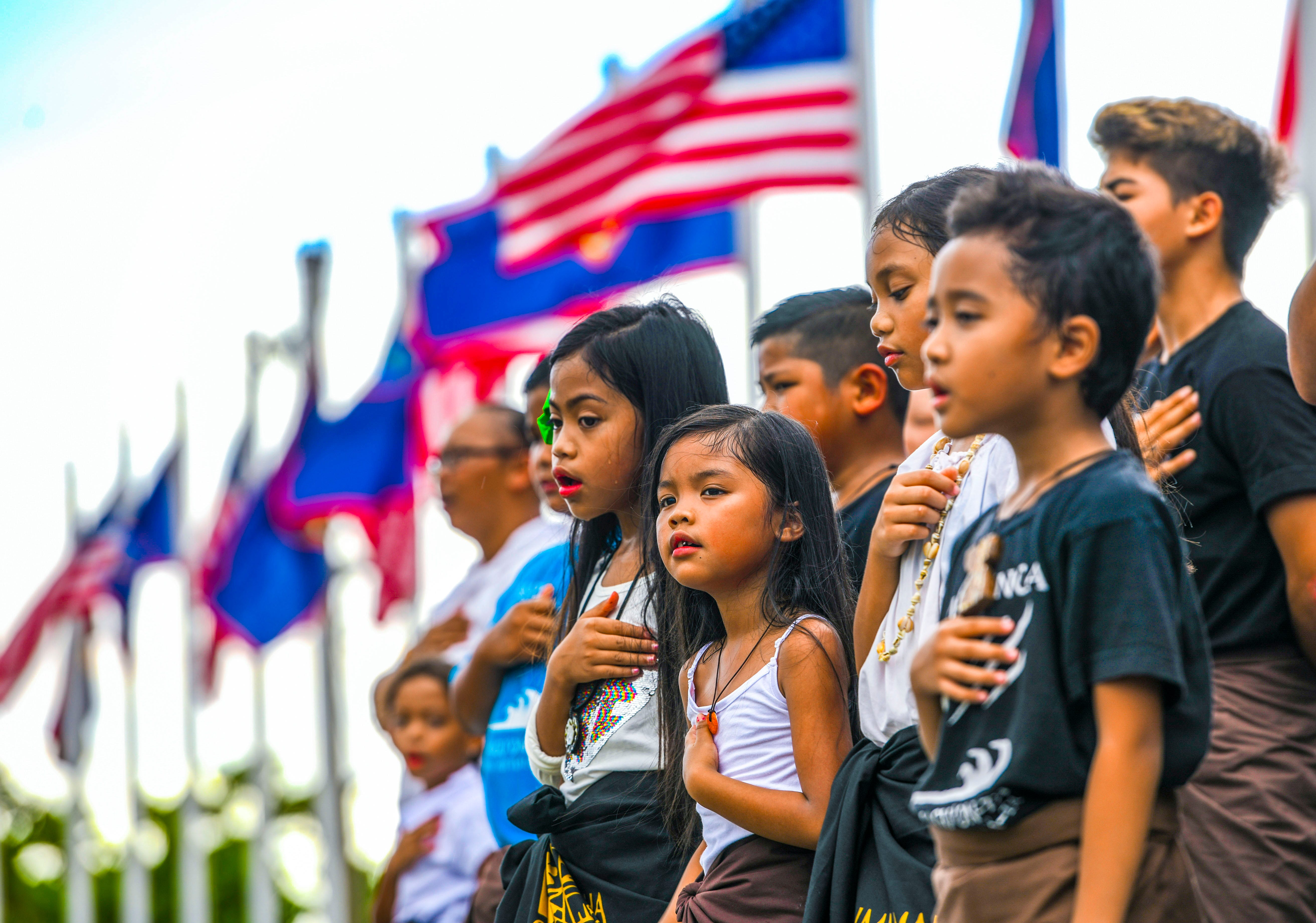 The Inifresi, or Guam Pledge, is recited during the start of the Na'lå'la': Songs of Freedom, Vol. 3 concert held at Adelup on Thursday, July 4, 2019. While Independence Day is normally celebrated nationwide, local group Independent Guåhan, has hosted the event for the past three years, to educate the island community about the importance of Guam's decolonization.