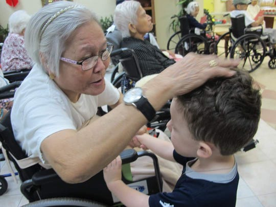 Students of Giving Tree Preschool and Dededo Childcare visited clients singing  songs, dancing and presenting art at St. Dominic's Senior Care Home.