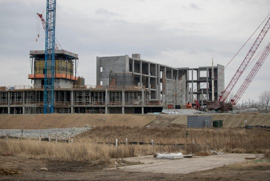 The under-construction Community Justice Campus along Pleasant Run, in the Twin Aire neighborhood of south eastern Indianapolis, Sunday, Dec. 8, 2019. The creek area, which runs from east to west on the southern part of the city, runs near this area, and opponents are suspicious of city plans to build close to the waterway.