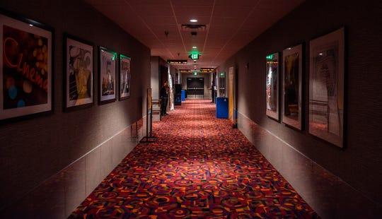 Empty hallway in Cinemark movie theater.