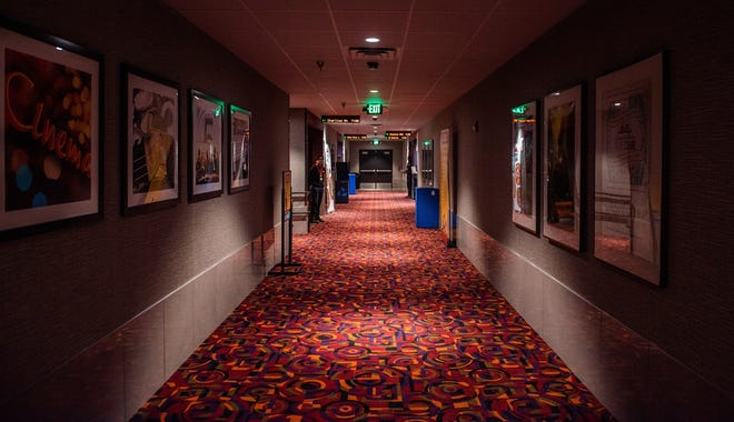Empty hallway in Cinemark movie theater.