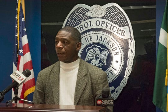 "Jackson Police Department Public Information Officer Sam Brown speaks to members of the media during a press conference Tuesday, Dec. 31, 2019, regarding an apparent ""targeted"" shooting on Medgar Evers Blvd. in Jackson, Miss., earlier in the day."